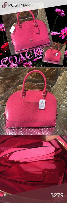 AUTHENTIC COACH HANDBAG Gorgeous LEATHER COACH HANDBAG              You will not be able to take your eyes off of it nor will anyone else!!!!!!!                                          Gold hhoard ware... Coach Bags Totes