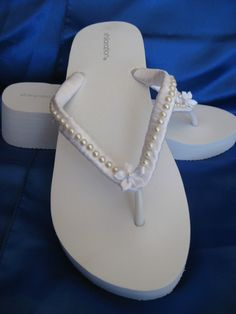 Bridal White Wedge Flip Flops Or Ivory With Pearl And Flower Design Flop