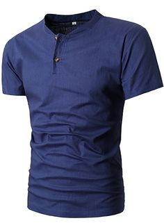 MIEDEON Men Linen and Cotton V neck Short Sleeve Casual Henley T-Shirt at Amazon Men's Clothing store: