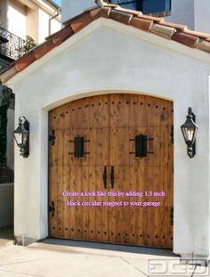 magnetic garage door decorative hardware kit hinges black circles carriage house - Garage Door Decorative Hardware