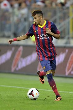 Neymar of Barcelona in action during a Pre Season Friendly match between Lechia Gdansk and FC Barcelona on July 30, 2013 in Gdansk, Poland.