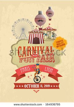 vintage carnival/fun fair/ fairground/circus poster template vector/illustration by lyeyee, via Shutterstock