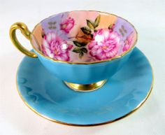 One lump or two? Aynsley Turquoise Pink Camellia Bone China Cabinet Tea Cup & Saucer 1950s A1 - ebay £19.95