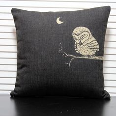 Brief owl  cartoon fluid fabric Linen Cotton Pillow Cushion pillow cover Car Office Cushions Home  Decor 45*45cm $15.99