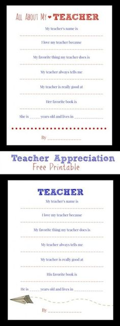 Show Your Teacher Some Love! Teacher Appreciation Week - Free Printable (for male and female teachers)
