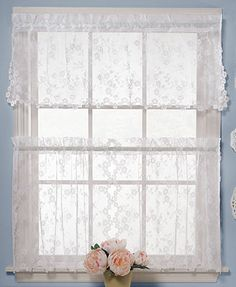 "Saturday Knight Window Treatments, Pair of Petite Fleur 28\"" x 24\"" Cafe Curtains"