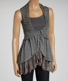 Charcoal Ruffle Vest