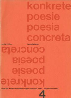 """Konstellationen, No. 4 of the series """"Konkrete poesie"""", Published by Verlag Herausgeber Eugen Gomringer Press, 1961"""
