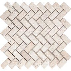 "Parvatile Tumbled Herringbone 1"" x 2"" Stone Mosaic Tile in Ivory"