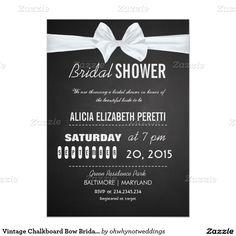 Vintage Chalkboard Bow Bridal Shower 4.5x6.25 Paper Invitation Card