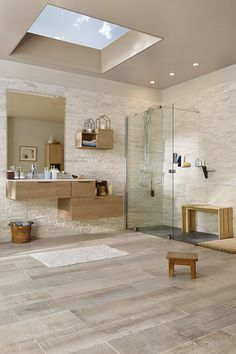 Large bathroom with shower on the floor in large space with clear parquet floor Rectangular wooden bathroom furniture small benches then light window on the ceiling Bathroom Interior Design, Modern Interior Design, Interior Decorating, Wooden Bathroom, Bathroom Furniture, Diy Furniture, Large Bathrooms, Wooden Flooring, Home Remodeling