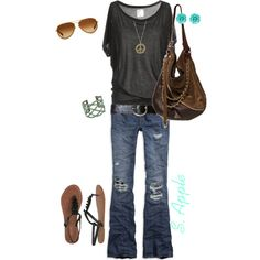 Anchor 3/4 sleeve T, AE boyfriend jeans, leatherette ruffled sandals, Dsquared bag, Oliver Peoples sunnies. created by sapple324 on Polyvore