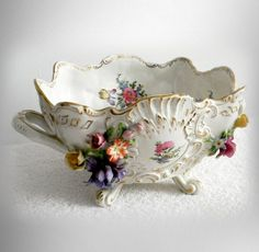 Items similar to Dresden Gremany large porcelain bowl with flowers - marked on Etsy Dresden Porcelain, China Porcelain, Dresden China, Vintage Kitchen Decor, Vintage Dishes, Vintage Glassware, Gold Highlights, Antique Items, Antique Glass