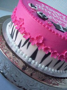 Hot pink Zebra combo - Cake by Corrie