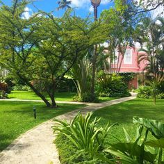 The Great House through the gardens at Cobblers Cove.  #cobblerscove #barbados