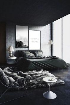 Black Bedroom Design, Black Bedroom Decor, Luxury Bedroom Design, Apartment Bedroom Decor, Room Ideas Bedroom, Men Bedroom, Bedroom Designs, Black Decor, Black Interior Design