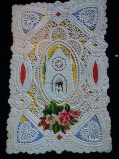 """#Original 1800's Victorian Paper Lace Card Signed Whitney """"Innocent"""" 3.5 x 5.5"""""""