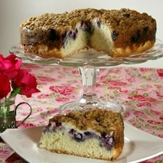 Blueberry Coffee Cake. This has been repinned so many times I thought I should try it. The recipe lists milk as an ingredient but it isn't in the directions. Include it in the cake. Got good reviews from my house.