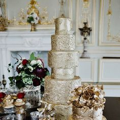 # throwback Thursday #tbt Gold cakes from a shoot styled by the fabulous @bijoubride at @fetchampark a few years ago. Image by the  amazing @bisforbabb #goldcakes #luxuryweddingcake #elegantweddingcakes #tallweddingcakes #opulentweddingcakes #metallicweddingcakes #qatariwedding @dubaiweddings #londonweddings #luxedesserts #luxewedding #gold # shimmer #gold #goldcake #champagnegold
