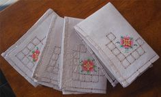 Set of  Four Hand Embroidered TABLE NAPKINS 25cms x 25cms These Napkins have been stored over a long period of time and not used so I have  *Washed *Starched *Ironed  to freshen up.