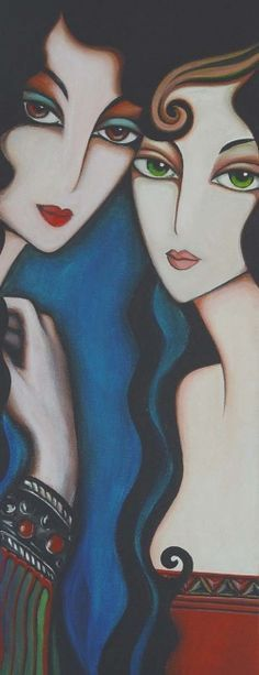 Painting by Yasemin Karabenli (Turkey) Arte Pop, Fine Art, Art And Illustration, Whimsical Art, Portrait Art, Female Art, Art Pictures, Amazing Art, Modern Art