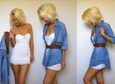образ с джинсовой рубашкой и юбка карандаш - Поиск в Google