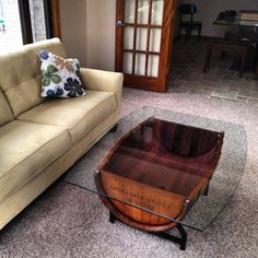 Wine Barrel Table - Custom coffee table made from a wine barrel.