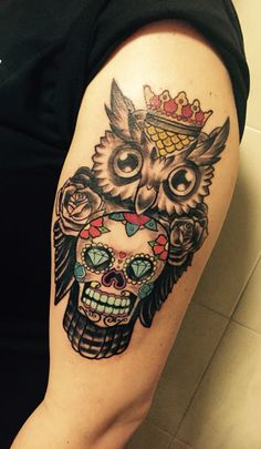 new in! tattoo sugarskull owl oldschool zagreb godina zmaja