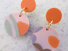 Polymer Clay Orange, Green, Mauve and Coffee Drop Stud Earrings by thesleeplesscreative on Etsy