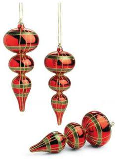 Set of Three Christmas Plaid Glass Finial Ornaments Modern Christmas Ornaments, Tartan Christmas, Plaid Christmas, Christmas Pictures, Christmas Colors, All Things Christmas, Christmas Holidays, Christmas Crafts, Christmas Decorations