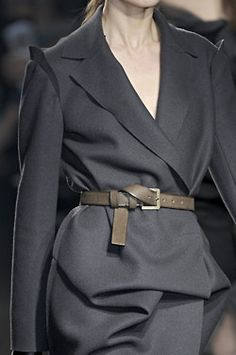 Lanvin. This shade of grey is so sexy. I also really like the subtle detailing highlighting edges of the shoulders, and the way the belt strap is tucked in.
