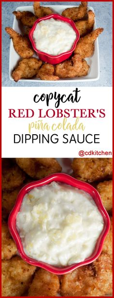 Copycat Red Lobster's Pina Colada Dipping Sauce - Just three simple ingredients go into this copycat version of the popular dipping sauce served at Red Lobster. Goes great with coconut shrimp! Pina Colada Dipping Sauce Recipe, Coconut Shrimp Dipping Sauce, Shrimp Sauce Recipes, Coconut Shrimp Recipes, Coconut Sauce, Lobster Recipes, Fish Recipes, Seafood Recipes, Appetizer Recipes