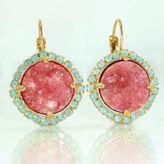 Statement Drop Earrings, Druzy Earrings, Mom, Gemstones Gold Earrings, Dangle Earrings, Pink Druzy Earrings, Druzy Jewelry By Inbal Mishan. by inbalmishan on Etsy https://www.etsy.com/listing/203228282/statement-drop-earrings-druzy-earrings