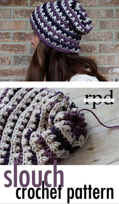 Sugared Plum Beanie Slouch - Free Crochet Pattern by RescuedPawDesigns. - Knit and Crochet - Awesome knitted and crocheted items and patterns. Crochet Slouch Beanie, Crochet Adult Hat, Crochet Cap, Crochet Scarves, Love Crochet, Crochet Clothes, Knitted Hats, Slouch Hats, Slouchy Beanie