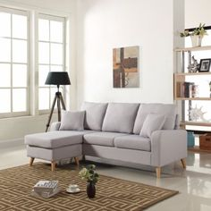 Modern Fabric Small Space Sectional Sofa w/ Reversible Chaise in Light Grey #ad