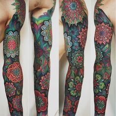 """Mmmmm. This tattoo just captivates my vision and warms my soul! Original pinner says: """"thestarlighthotel: Colorful sleeve 