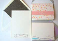 Stationery Gift Pack : 20 Note Cards 20 Personalized Flat Notes  This stationery suite was gifted to Zooey Deschanel by Sparetire Design via The Artisan Group
