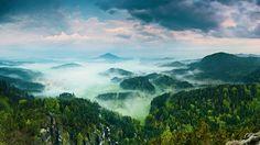 Maria's Rock, Jetrichovice Village, National Park Bohemian Switzerland, Czech Republic