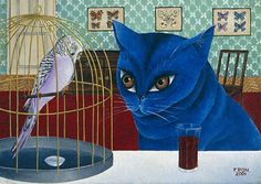 Kocour a andulka (The cat and parakeet) Kinds Of Birds, Cat Party, Bird Cages, Blue Cats, All About Cats, Whimsical Art, Love Art, Art Forms, Pet Birds