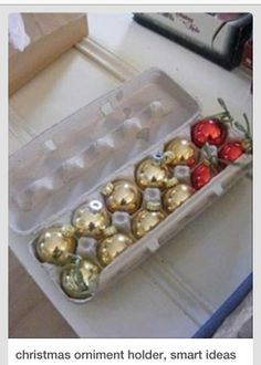 Egg Cartons- smart idea for storing ornaments! Love this idea. Why havent I thought of this. Going to start saving my cartons Christmas Balls, Winter Christmas, Christmas Ornaments, Christmas Ideas, Gold Ornaments, Holiday Ideas, Merry Christmas, Christmas Time Is Here, All Things Christmas