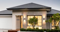 Find our selection of premium display homes for sale. If you have ever dreamed of living in a Dale Alcock home, now is your chance. Facade Design, Exterior Design, Front Entry Landscaping, Perth, Asian House, Modern Small House Design, Tiny House Storage, Beautiful House Plans, Front Yard Design