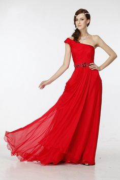 Tina Holy Nine Nights One shoulder side drape evening formal bridesmaid prom dress - RED