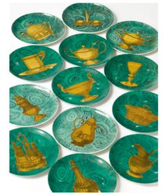 """From the Estate of Brooke Astor, circa 1955 - A set of thirty-four Fornasetti Stoviglie porcelain """"malachite"""" ground plates. Piero Fornasetti, Coral, Traditional Interior, Decorating Blogs, Decorative Accessories, A Table, Modern Art, My Design, Objects"""