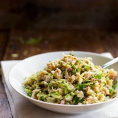 Chopped Brussels Sprout Salad with Chicken and Walnuts YUMM!!!!