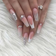 Coffin Wedding Nail Idea Wedding nails are an important part of your wedding look, so we have found 43 pretty designs. Any of these will be a stunning choice for the big day! Wedding Nails For Bride, Bride Nails, Wedding Nails Design, Bling Wedding Nails, Swarovski Nails, Crystal Nails, Rhinestone Nails, Swarovski Crystals, Pink Acrylic Nails