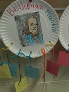 """Benjamin Franklin Fact Plate. Students watch a short biography and read Benjamin Franklin: His wit and wisdom from A-Z"""" by Alan Schroeder. Students then create a fact plate using 3-7 facts that they have learned describing Benjamin Franklin. This lesson correlates with the Social Studies GPS for 4th grade."""