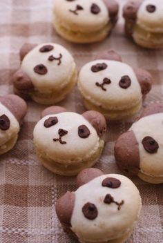 Think Macarons Cant Get Any Cuter? These 22 Super Cute Character Macarons Will Prove You Wrong. Macarons, Cute Desserts, Dessert Recipes, Cute Food, Yummy Food, Yummy Snacks, Desserts Japonais, Panda Food, Macaroon Recipes