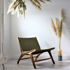 Rays of light filtering through the shutters and open windows, welcome Spring! 🌾   The Oslo Chair in Olive Green is back in stock but in a limited quantity! Green Accent Chair, Accent Chairs, Green Leather, Soft Leather, Natural Wood Decor, Open Window, Oslo, Shutters, Jaguar