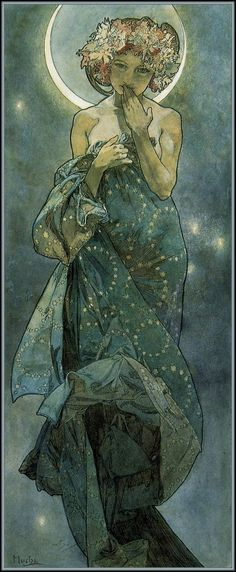 Alphonse Maria Mucha.   The Moon and the Stars: study for 'The Moon' (1902)