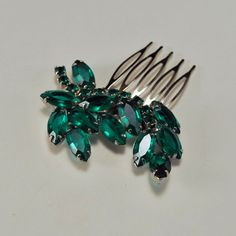 Emerald Green Crystal Bridal Hair Comb Art Deco by GildedShadows, $47.95